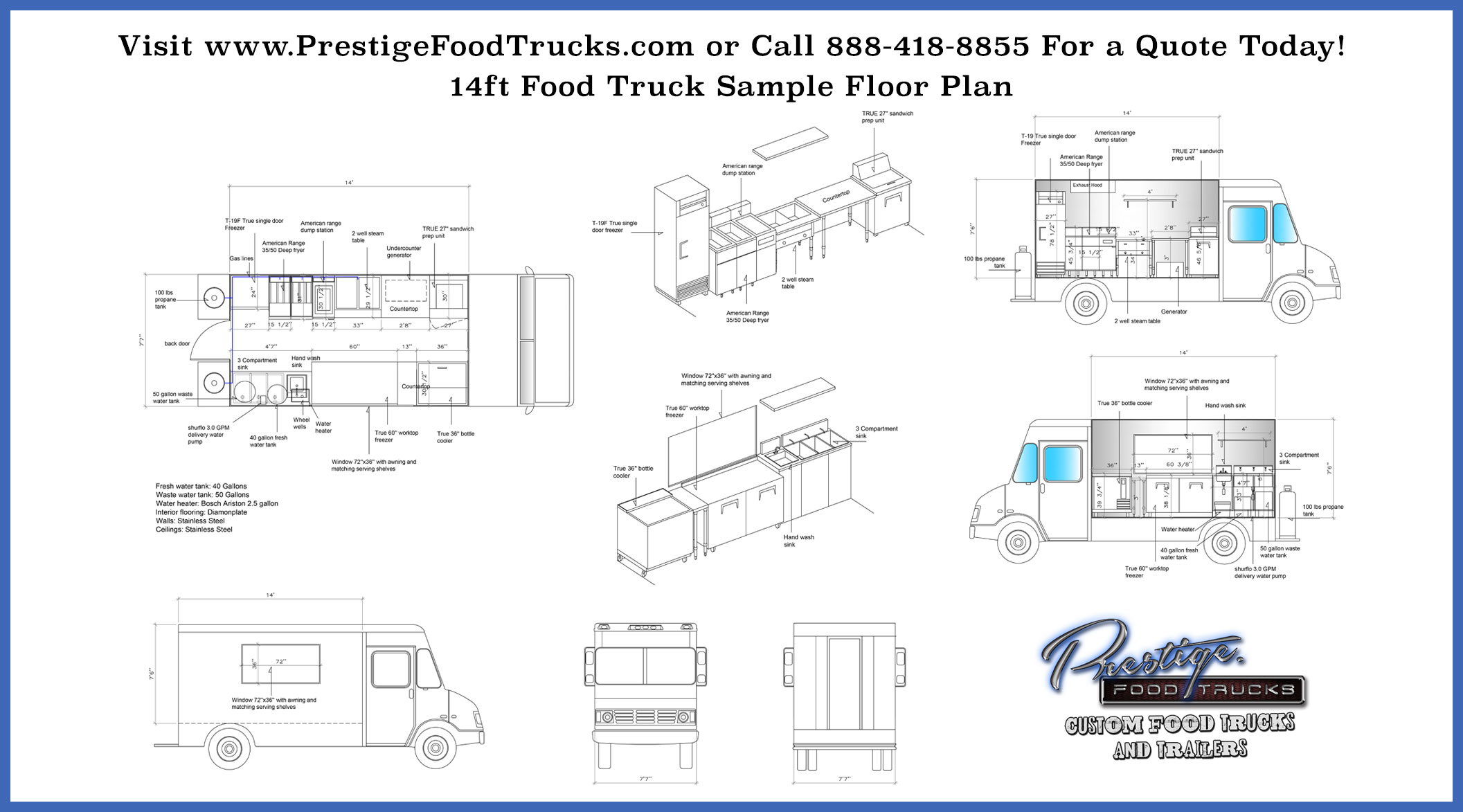 Custom food truck floor plan samples custom food truck for Food truck layout plans