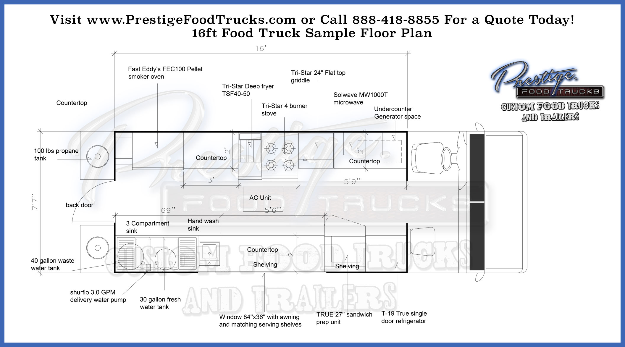custom food truck floor plan samples prestige custom food truck manufacturer. Black Bedroom Furniture Sets. Home Design Ideas