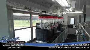 photo of food truck interior showing the service window and smoothie machines