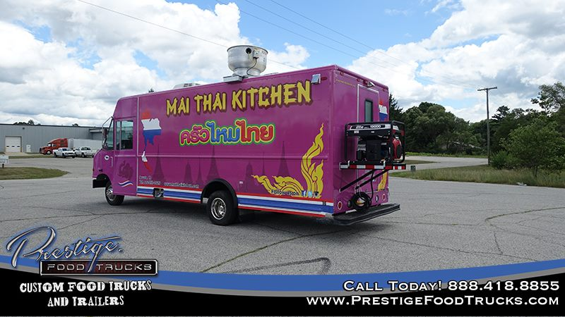 read/side view of purple Mai Thai kitchen food truck