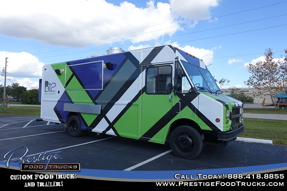 food truck with geometric pattern parked in parking lot under blue sky