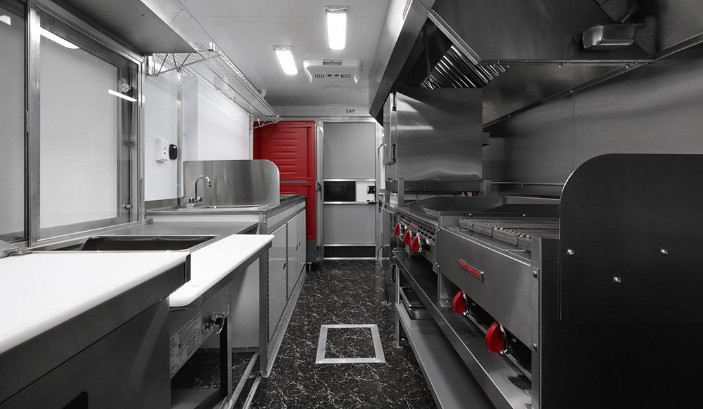 mane fare food truck interior with kitchen equipment